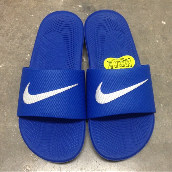 online retailer 9066d 06e06 NIKE KAWA SANDALS GS PS SWOOSH ROYAL BLUE YOUTH NWT
